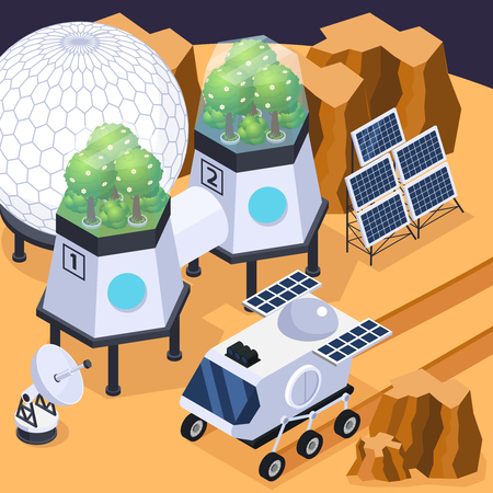 Space colonization terra-forming isometric composition with vehicle solar arrays and other equipment on martian land form. Illustration