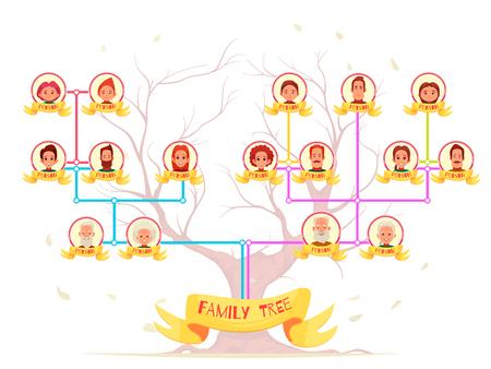Avatar di famiglia genealogia infografica di parenti con linee di collegamento di colore sull'illustrazione di vettore del fumetto del fondo dell'albero Archivio Fotografico - 100727297