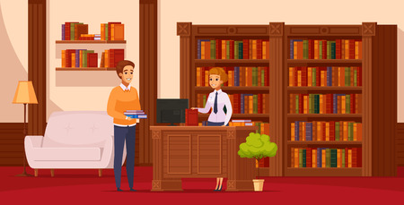 Library flat orthogonal composition with librarian assisting reader at service desk in front of bookshelves vector illustration