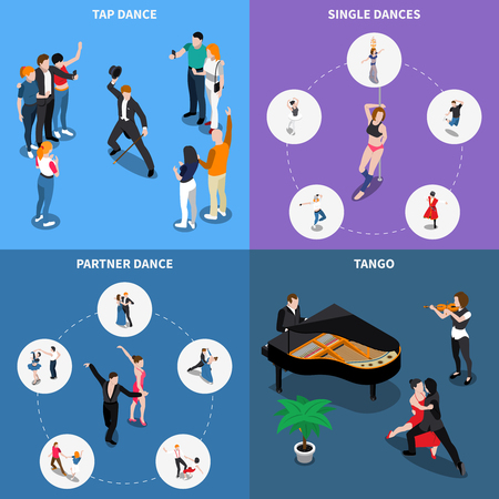 Single and partner dances isometric design concept with musicians, performers of tango and tap, isolated vector illustration