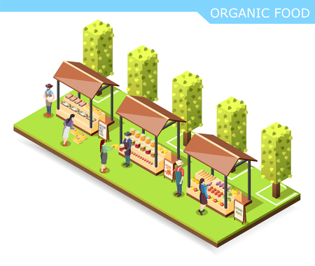 Farm market with organic food isometric composition with vegetables, preserves, meat and fish on counters vector illustration