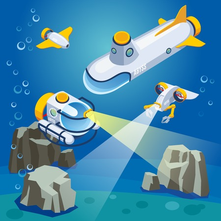 Underwater vehicles including unmanned equipment and submarine, composition on blue background isometric vector illustration Stock Illustratie