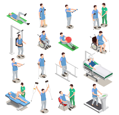 Medical staff and patients during physiotherapy and rehabilitation procedures on various equipment isometric icons isolated vector illustration Ilustracja