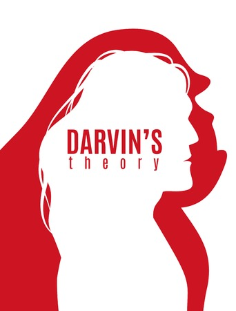 Darwin theory red white poster with profile silhouettes of primate and modern man vector illustration