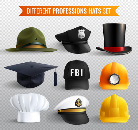 Different professions hats collection on transparent background with nine realistic uniform headgear items with shadows vector illustration Illustration