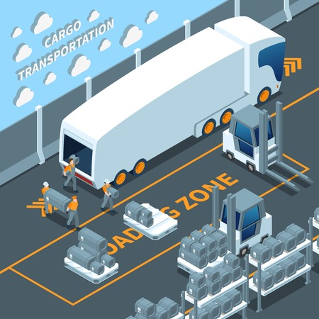 Modern white electric truck isometric composition with unloading cargo, warehouse equipment and shelves with goods vector illustration