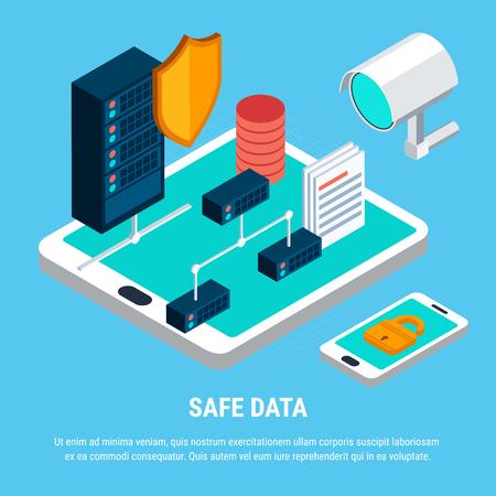 Concept de conception de données sûres avec caméra de surveillance de verrouillage et bouclier comme serveur de symboles de sécurité et icônes isométriques smartphone vector illustration