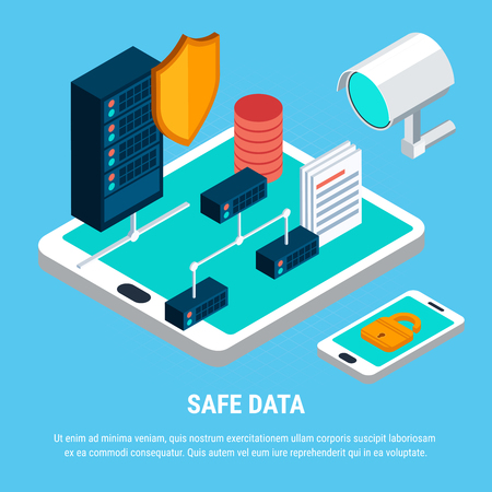 Safe data design concept with  lock surveillance camera and shield as security symbols server and smartphone isometric icons vector illustration  Illustration