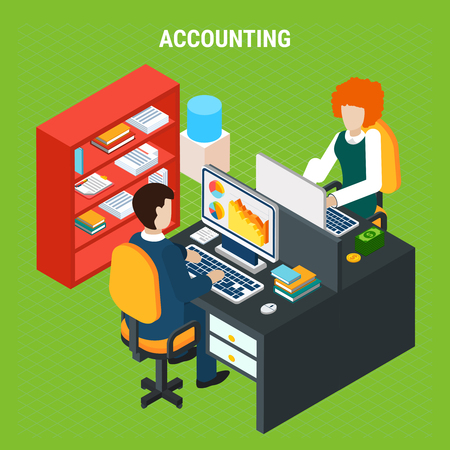 Banking accounting isometric composition on green background with staff at computer work in office vector illustration