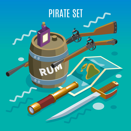 Pirate set including weapons, treasure map, spyglass, bottle and barrel rum game background isometric vector illustration