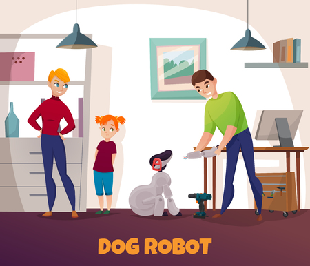 Dog robot repair with electronics and technology symbols flat vector illustration Illustration