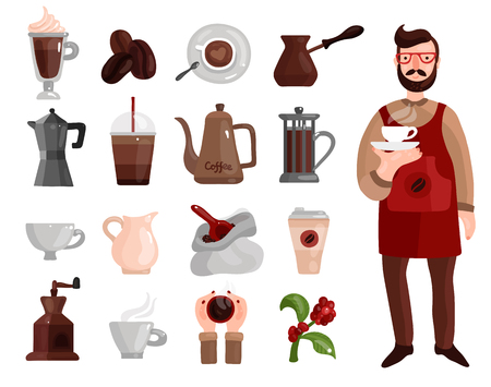 Flat set of tools for coffee production beans various pots drinks and barista with cup. isolated on white background.