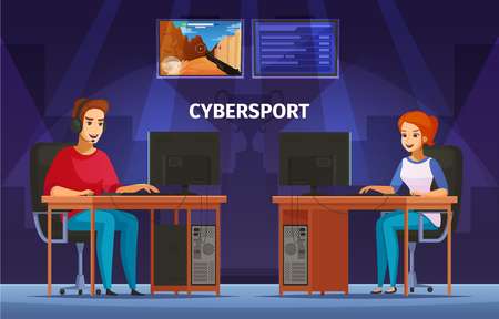 Cybersport games playing at desktop cartoon characters composition with girl and teenager wearing headset vector illustration