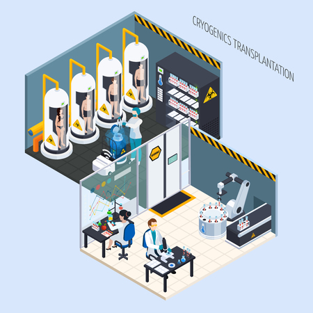 Cryonics cryogenics transplantation isometric composition with view of two cryogeny lab rooms with people and equipment vector illustration