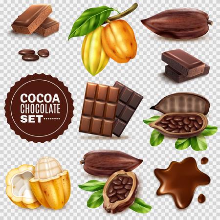 Conjunto de mazorcas de cacao frescas y secas realistas con semillas, chocolate aislado en la ilustración de vector de fondo transparente