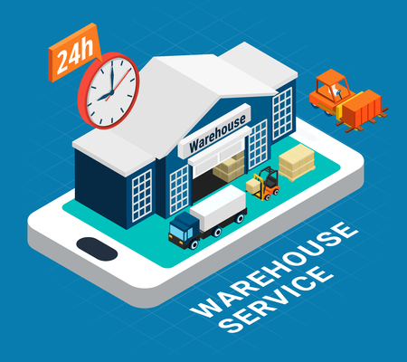 Logistics isometric concept with warehouse building fork truck and cargo on blue background 3d vector illustration