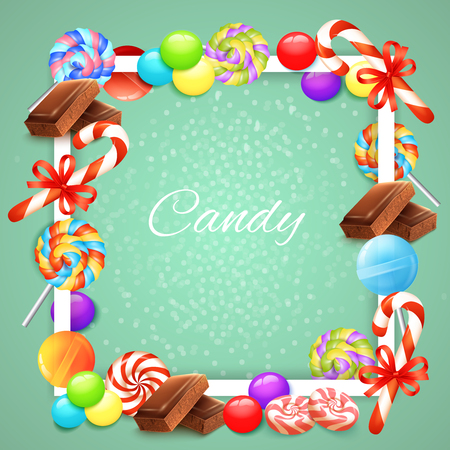 Candies white square frame with chocolate, lollipops, sweet canes with ribbons on pale green background vector illustration Illustration