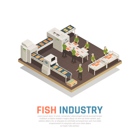 Fish industry seafood production isometric composition with view of sea food factory with conveyors and workers vector illustration Illustration