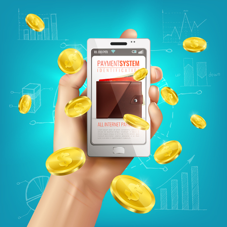 Realistic wallet conceptual composition with smartphone in human hand and golden coins with financial sketches background vector illustration Illustration