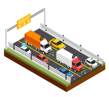 Parking for unmanned transport design concept with place for freight trucks only, isometric vector illustration.
