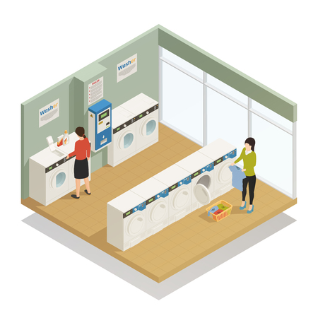 People in laundry room with several washing machines isometric composition on white background 3d vector illustration Ilustração