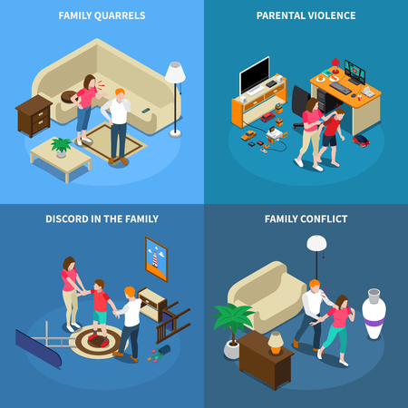 Family issues isometric design concept with quarrels, parental violence, disagreement, conflict, isolated on blue background vector illustration