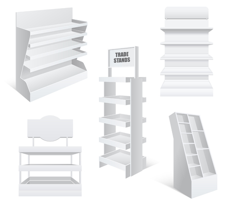 Sale promotion retail trade stands various types and sizes blank empty realistic templates set.