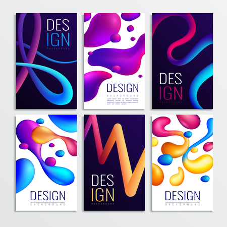 Fluid neon holographic abstract design elements cards collection of six vertical compositions with gradient curve shapes vector illustration