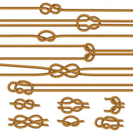 Colección de muestras de nudos de cuerdas útiles con figura de hoja de arrecife cuadrada doblada por encima de la ilustración de vector aislado realista