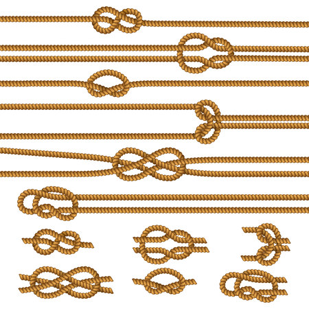 Useful ropes knots samples collection with figure square reef sheet bend overhand realistic isolated vector illustration