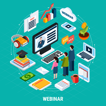 Round Webinar isometric composition with isolated elements of study and e learning vector illustration