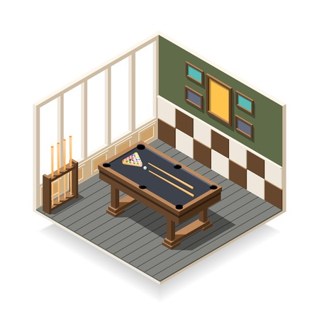 Billiard room interior with game equipment including wooden table, balls, cue sticks, isometric composition vector illustration