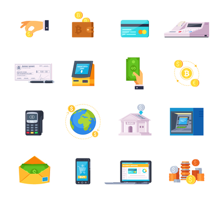 Financial technology orthogonal flat icons set with credit cards online banking and automated teller machine.