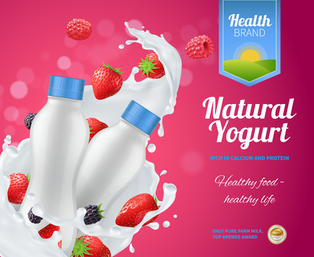 Berry yogurt advertising composition with natural yoghurt symbols realistic vector illustration Illustration
