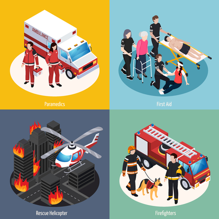 Rescue team 2x2 design concept set of paramedics firefighters rescue helicopter and first aid isometric compositions vector illustration