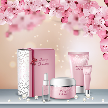 Sakura colored poster or advertising flyer with pink bottles of cosmetics for beauty procedures vector illustration Illustration