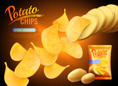 Potato chips advertising composition with realistic images of crisps natural potatoes and pack shot with text vector illustration Illustration