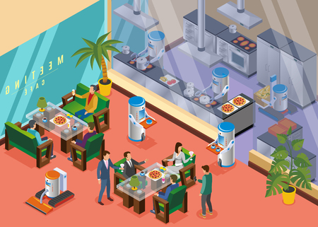 Isometric and colored robotic restaurant concept with specialized restaurant with coworkers robots vector illustration