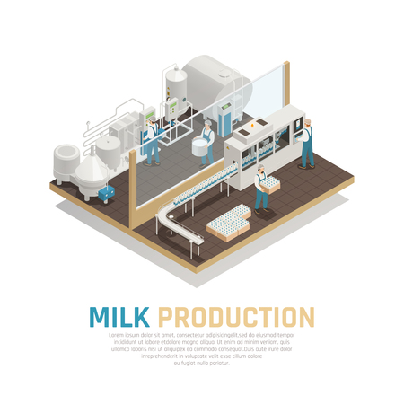 Dairy production milk factory isometric composition with view of milk production department with essential factory equipment vector illustration