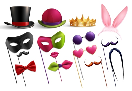 Photo booth party set with isolated images of funny hats glasses and doodle elements for masquerade vector illustration