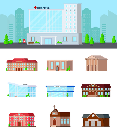 Municipal buildings flat set of isolated icons on blank background with hospital in city landscape composition vector illustration