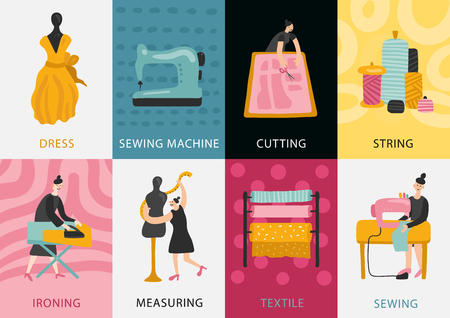 Garment factory cards set of dress making from textile and measuring to cutting sewing ironing flat vector illustration  Ilustração