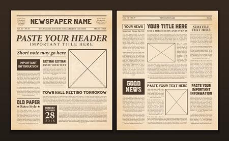 Antiguo periódico vintage 2 plantillas de páginas realistas para su título título edición nombre texto aislado ilustración vectorial Ilustración de vector