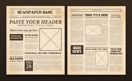 Old vintage newspaper 2 realistic pages templates for you title header edition name text isolated vector illustration  Ilustração