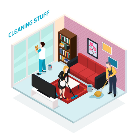 Home staff isometric design concept with professional team from cleaning company doing their job in living room vector illustration