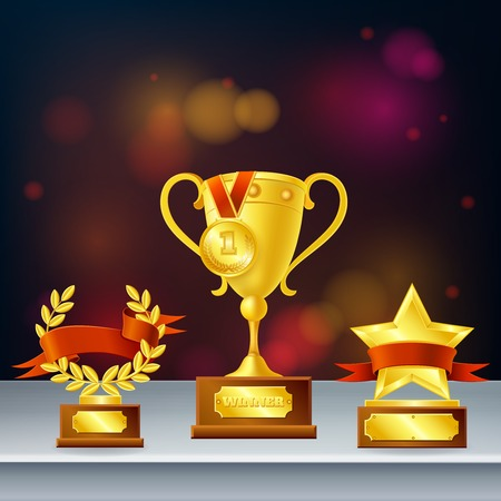 Awards realistic composition with trophies for winner, laurel wreath and star on dark blurred background vector illustration