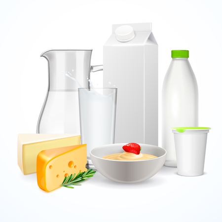 Dairy products including jug and glass of milk, cheese, yogurt, realistic composition on white background vector illustration