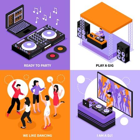 Concept d'icônes isométriques de musique DJ 4 avec partie de système audio danse concert d'entreprise jouer illustration vectorielle isolée