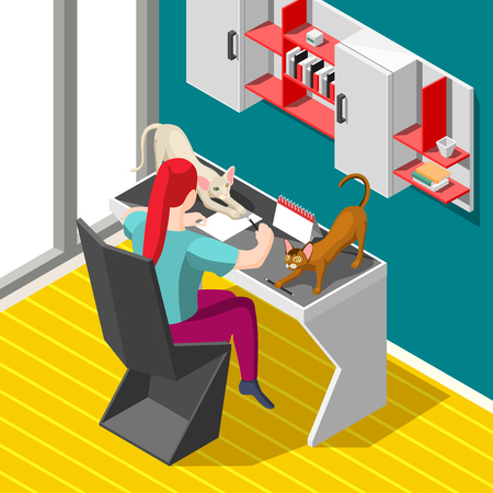Woman during working process and playful cats on desk isometric background with home interior vector illustration Reklamní fotografie - 100725388
