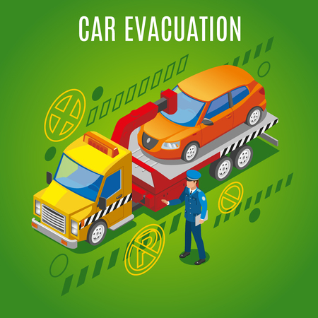 Isometric parking background with car evacuation headline and evacuator takes a car to a parking lot vector illustration